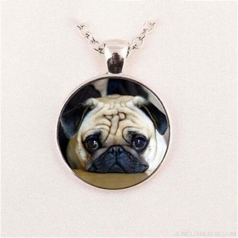 Glass Dome Round Pug Picture Necklace - 1 / Bronze / 1 - Custom Made | Free Shipping