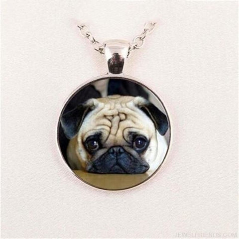 Image of Glass Dome Round Pug Picture Necklace - 1 / Bronze / 1 - Custom Made | Free Shipping