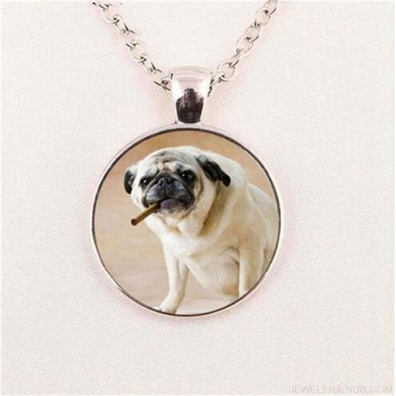 Glass Dome Round Pug Picture Necklace - 2 / Bronze / 1 - Custom Made | Free Shipping