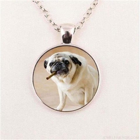 Image of Glass Dome Round Pug Picture Necklace - 2 / Bronze / 1 - Custom Made | Free Shipping