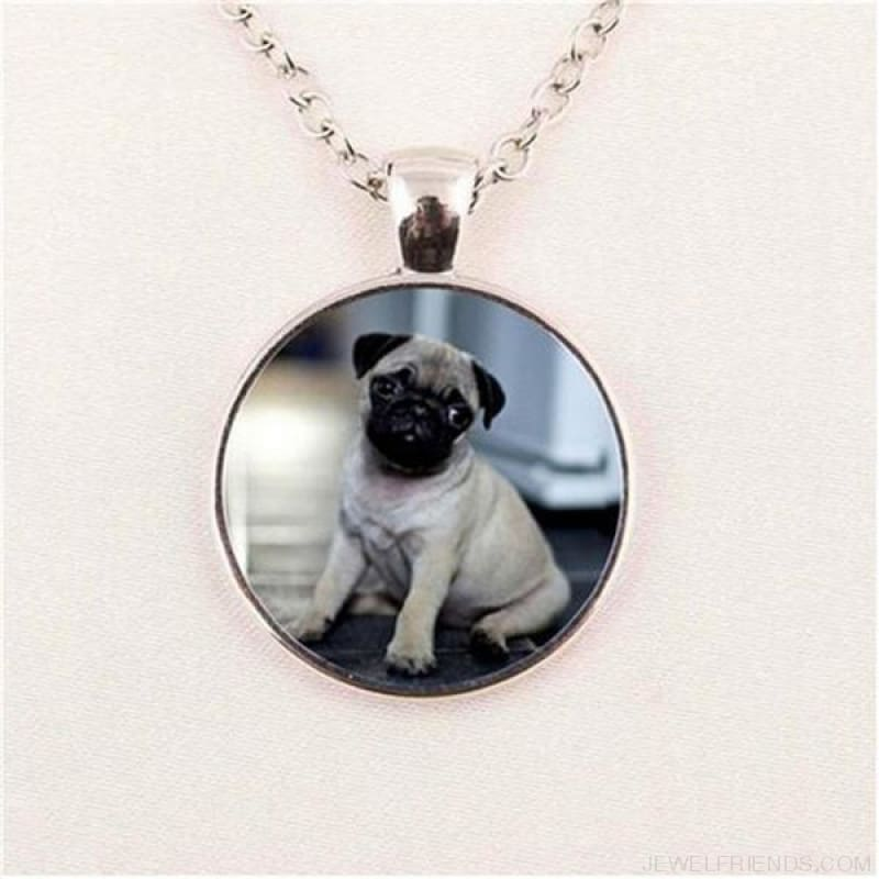 Glass Dome Round Pug Picture Necklace - 3 / Bronze / 1 - Custom Made | Free Shipping