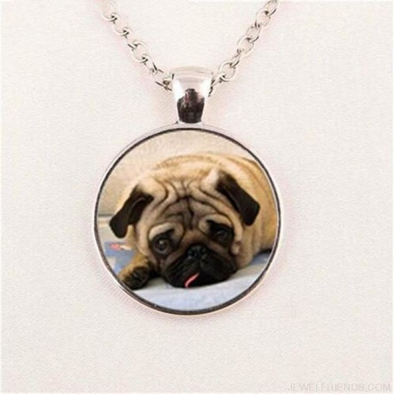 Glass Dome Round Pug Picture Necklace - 4 / Bronze / 1 - Custom Made | Free Shipping