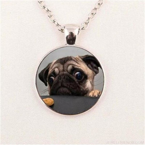 Image of Glass Dome Round Pug Picture Necklace - 5 / Bronze / 1 - Custom Made | Free Shipping
