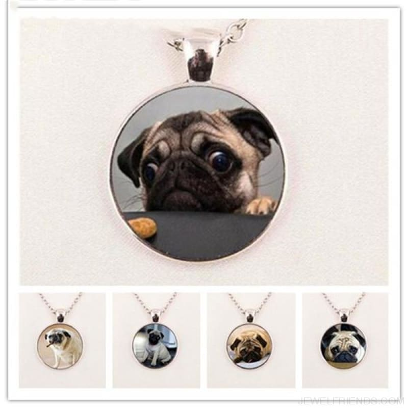 Glass Dome Round Pug Picture Necklace - Custom Made | Free Shipping