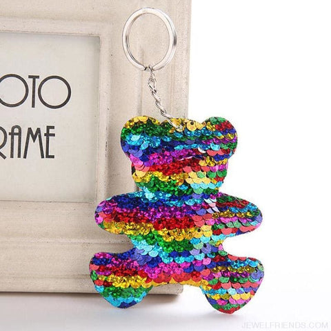 Image of Glitter Bear Pompom Sequins Keyring - Custom Made | Free Shipping