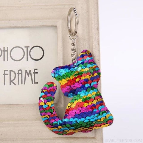 Image of Glitter Bear Pompom Sequins Keyring - Yl008 - Custom Made | Free Shipping