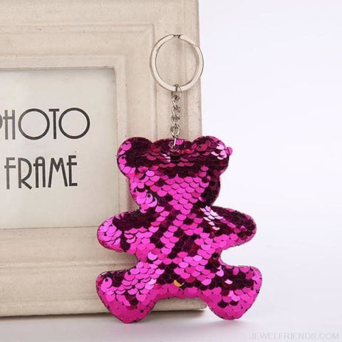 Image of Glitter Bear Pompom Sequins Keyring - Yl009 - Custom Made | Free Shipping