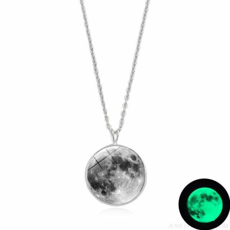 Glow In The Dark Moon 14Mm Galaxy Planet Glass Cabochon Necklaces - 1-Green - Custom Made | Free Shipping