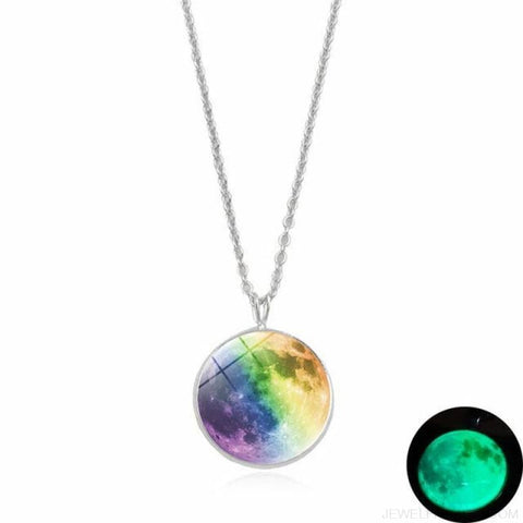 Image of Glow In The Dark Moon 14Mm Galaxy Planet Glass Cabochon Necklaces - 10-Green - Custom Made | Free Shipping
