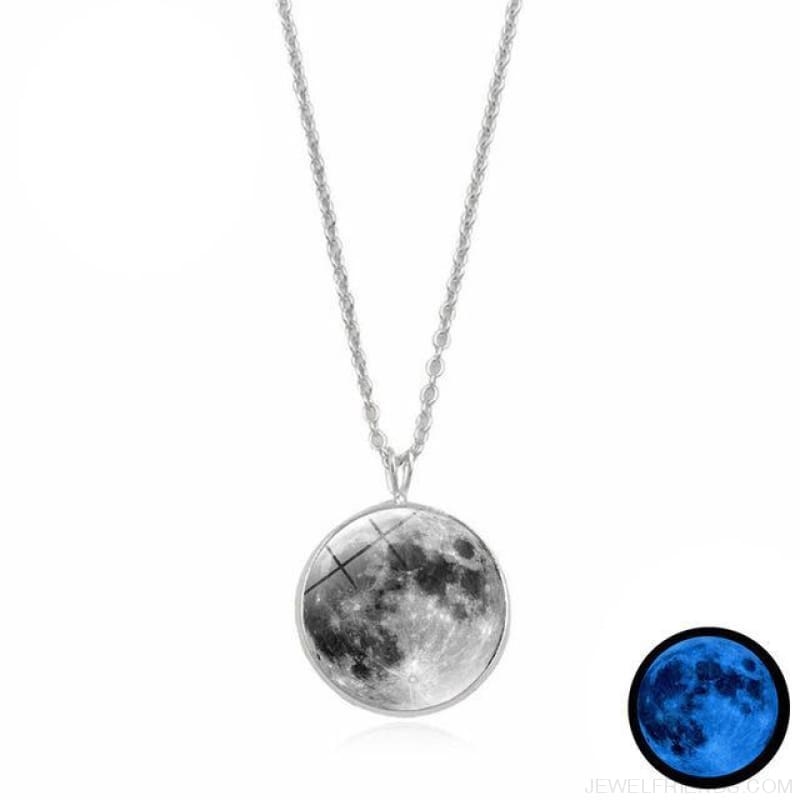 Glow In The Dark Moon 14Mm Galaxy Planet Glass Cabochon Necklaces - 11-Blue - Custom Made | Free Shipping