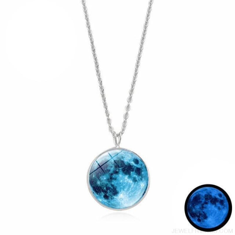 Glow In The Dark Moon 14Mm Galaxy Planet Glass Cabochon Necklaces - 12-Blue - Custom Made | Free Shipping