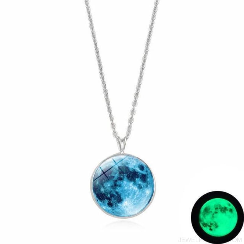 Glow In The Dark Moon 14Mm Galaxy Planet Glass Cabochon Necklaces - 2-Green - Custom Made | Free Shipping
