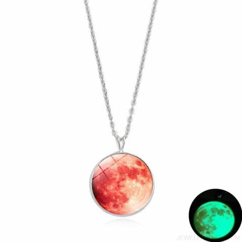Image of Glow In The Dark Moon 14Mm Galaxy Planet Glass Cabochon Necklaces - 3-Green - Custom Made | Free Shipping