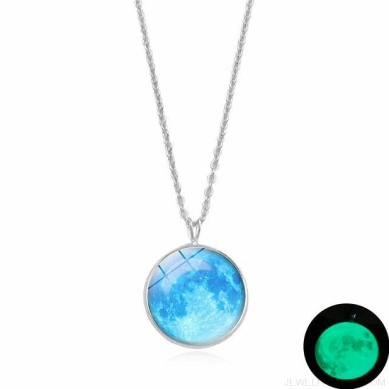 Glow In The Dark Moon 14Mm Galaxy Planet Glass Cabochon Necklaces - 4-Green - Custom Made | Free Shipping