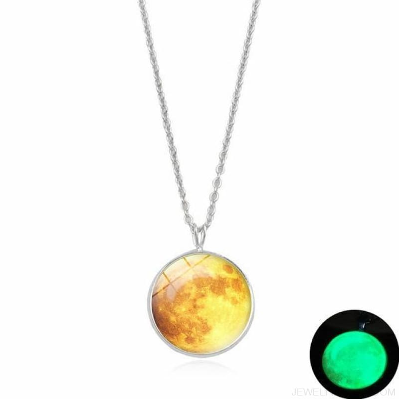 Glow In The Dark Moon 14Mm Galaxy Planet Glass Cabochon Necklaces - 7-Green - Custom Made | Free Shipping