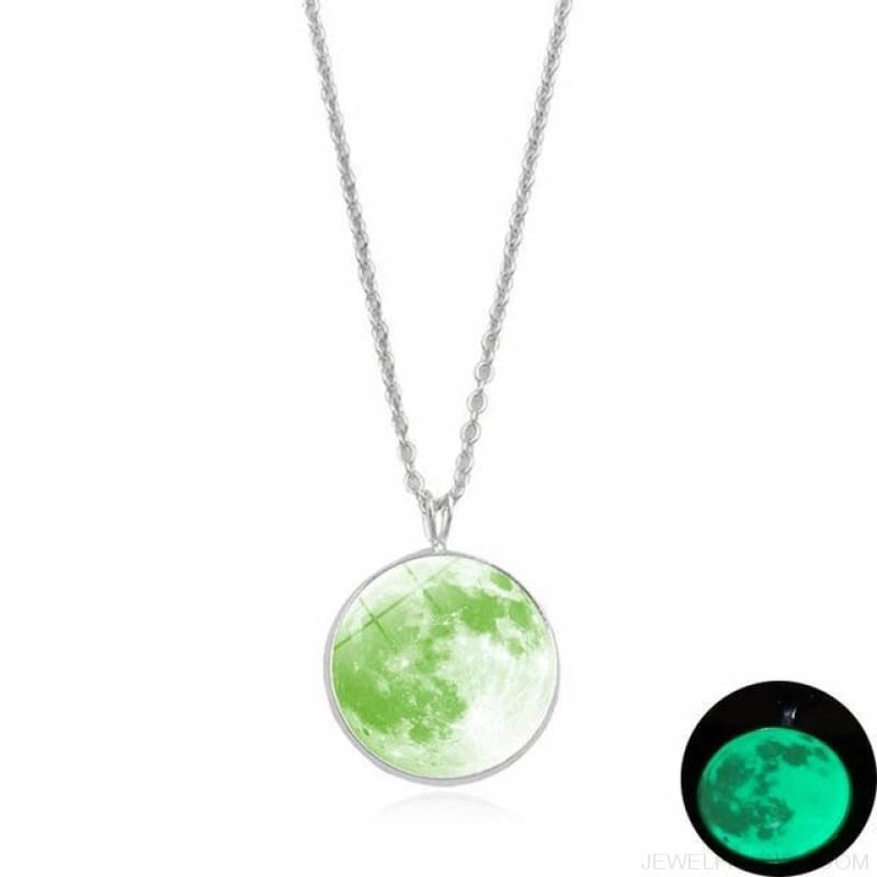 Glow In The Dark Moon 14Mm Galaxy Planet Glass Cabochon Necklaces - 9-Green - Custom Made | Free Shipping