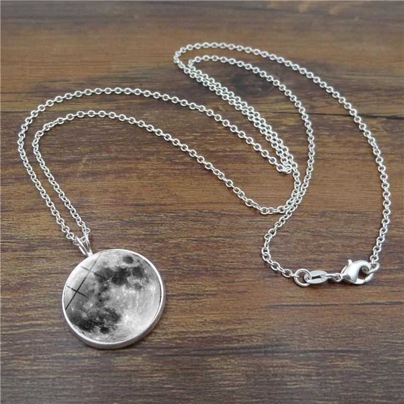 Glow In The Dark Moon 14Mm Galaxy Planet Glass Cabochon Necklaces - Custom Made | Free Shipping