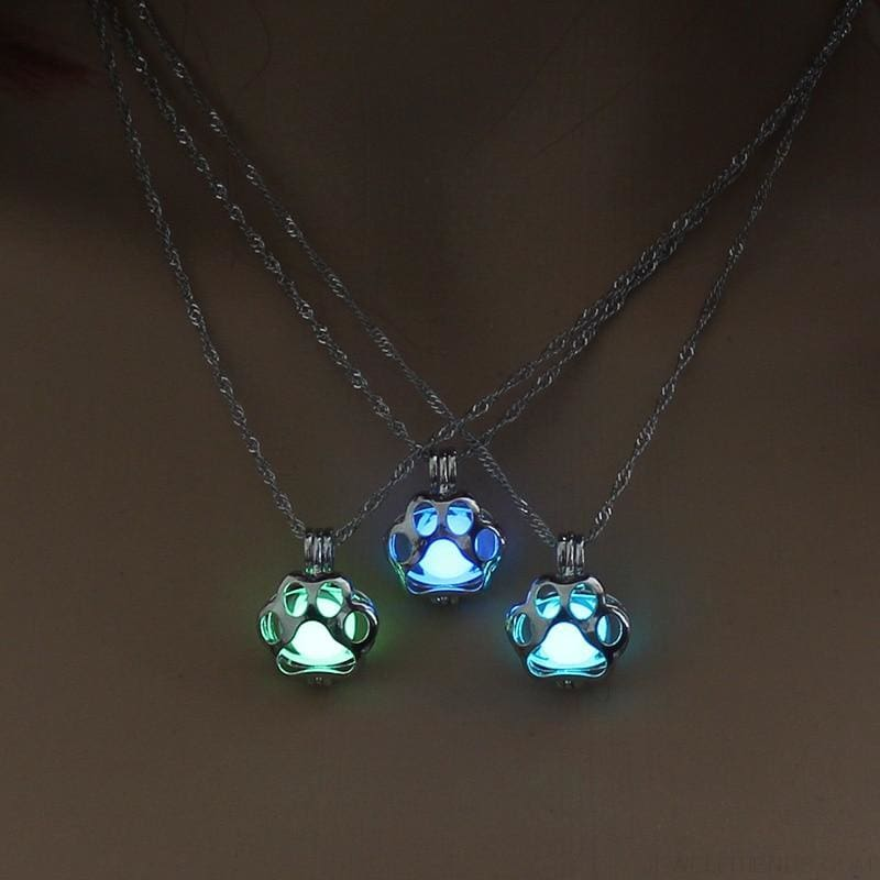 Glow In The Dark Paw Necklace - Custom Made | Free Shipping