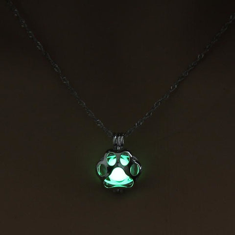Image of Glow In The Dark Paw Necklace - Custom Made | Free Shipping