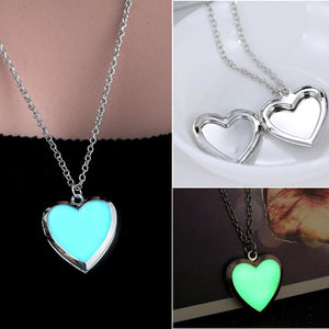 Glow in the Dark Photo Locket heart Necklace Pendant