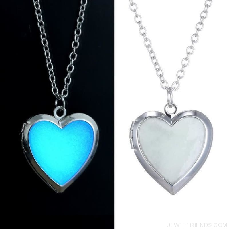 Glow In The Dark Photo Locket Heart Necklace Pendant - Custom Made | Free Shipping