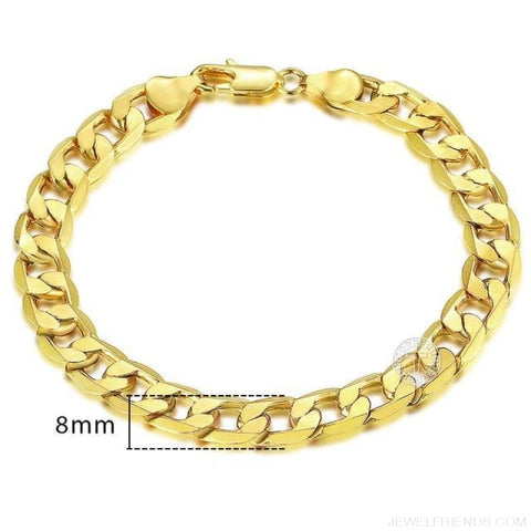 Gold Bracelets Curb Snail Rolo Wheat Box Twisted Links Chains Bracelets - Gb09 / 7Inch 17.5Cm - Custom Made | Free Shipping