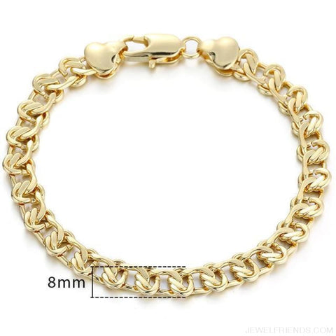 Gold Bracelets Curb Snail Rolo Wheat Box Twisted Links Chains Bracelets - Gb272 / 7Inch 17.5Cm - Custom Made | Free Shipping