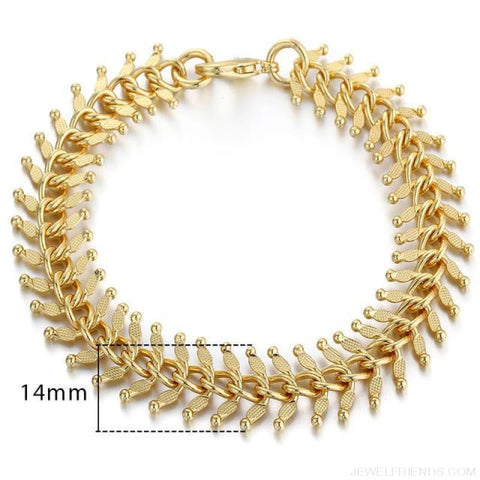 Gold Bracelets Curb Snail Rolo Wheat Box Twisted Links Chains Bracelets - Gb275 / 7Inch 17.5Cm - Custom Made | Free Shipping