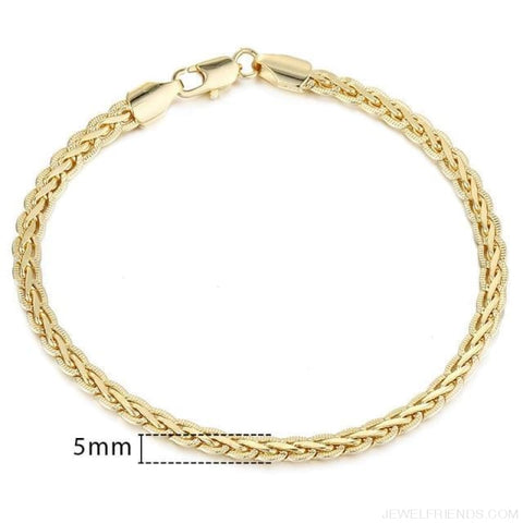 Gold Bracelets Curb Snail Rolo Wheat Box Twisted Links Chains Bracelets - Gb288 / 7Inch 17.5Cm - Custom Made | Free Shipping