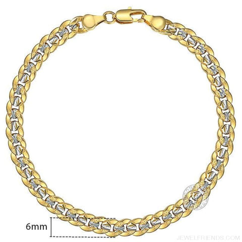 Gold Bracelets Curb Snail Rolo Wheat Box Twisted Links Chains Bracelets - Gb292 / 7Inch 17.5Cm - Custom Made | Free Shipping