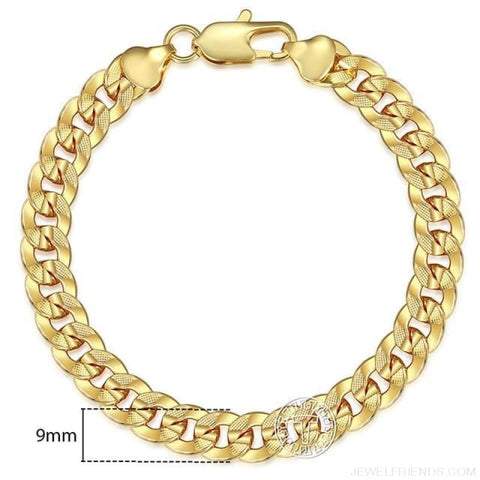 Gold Bracelets Curb Snail Rolo Wheat Box Twisted Links Chains Bracelets - Gb34 / 7Inch 17.5Cm - Custom Made | Free Shipping