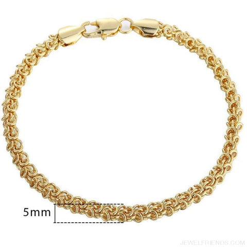Gold Bracelets Curb Snail Rolo Wheat Box Twisted Links Chains Bracelets - Gb353 / 7Inch 17.5Cm - Custom Made | Free Shipping