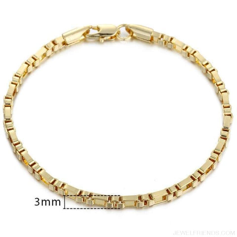 Gold Bracelets Curb Snail Rolo Wheat Box Twisted Links Chains Bracelets - Gb355 / 7Inch 17.5Cm - Custom Made | Free Shipping