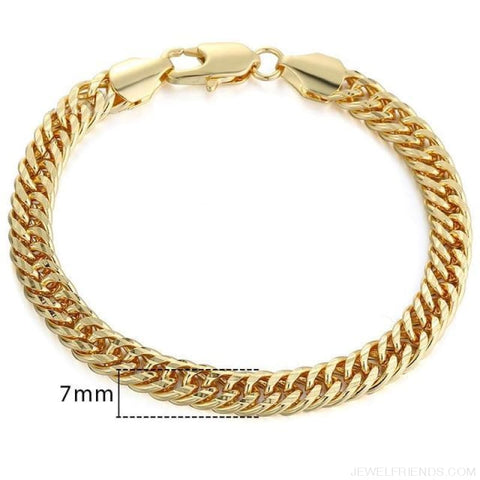 Gold Bracelets Curb Snail Rolo Wheat Box Twisted Links Chains Bracelets - Gb357 / 7Inch 17.5Cm - Custom Made | Free Shipping
