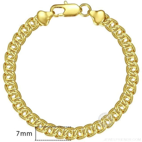 Gold Bracelets Curb Snail Rolo Wheat Box Twisted Links Chains Bracelets - Gb371 / 7Inch 17.5Cm - Custom Made | Free Shipping