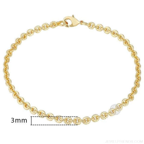 Gold Bracelets Curb Snail Rolo Wheat Box Twisted Links Chains Bracelets - Gb404 / 7Inch 17.5Cm - Custom Made | Free Shipping