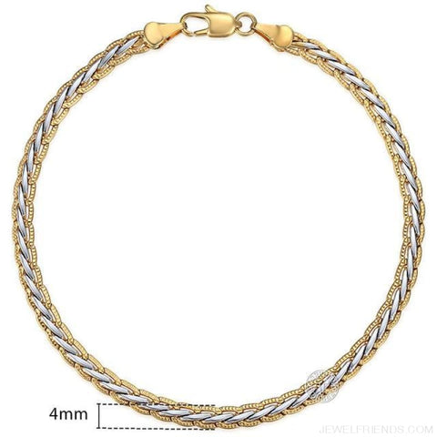 Gold Bracelets Curb Snail Rolo Wheat Box Twisted Links Chains Bracelets - Gb407 / 7Inch 17.5Cm - Custom Made | Free Shipping