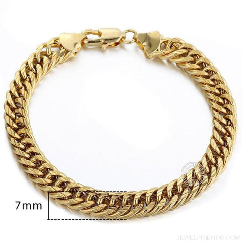 Gold Bracelets Curb Snail Rolo Wheat Box Twisted Links Chains Bracelets - Gb41 / 7Inch 17.5Cm - Custom Made | Free Shipping