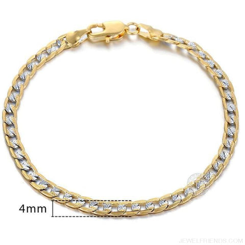 Gold Bracelets Curb Snail Rolo Wheat Box Twisted Links Chains Bracelets - Gb94 / 7Inch 17.5Cm - Custom Made | Free Shipping