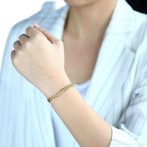 Gold Bracelets Curb Snail Rolo Wheat Box Twisted Links Chains Bracelets - Custom Made | Free Shipping