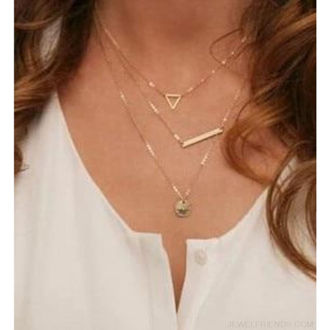 Gold Color 3 Layers Chain Triangle Long Pendant Necklaces - A - Custom Made | Free Shipping