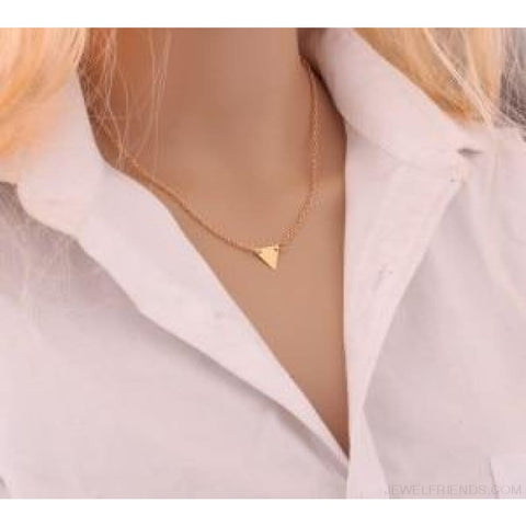 Gold Color 3 Layers Chain Triangle Long Pendant Necklaces - C - Custom Made | Free Shipping