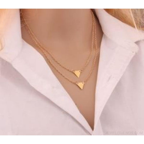 Gold Color 3 Layers Chain Triangle Long Pendant Necklaces - D - Custom Made | Free Shipping