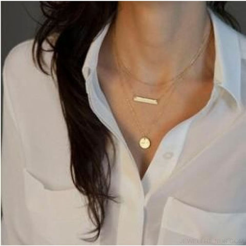 Gold Color 3 Layers Chain Triangle Long Pendant Necklaces - E - Custom Made | Free Shipping
