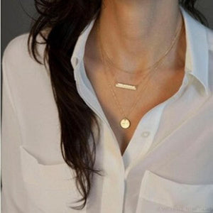 Gold Color 3 Layers Chain Triangle Long Pendant Necklaces