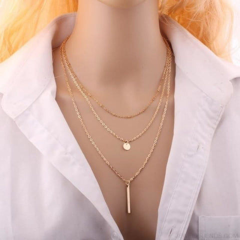 Gold Color 3 Layers Chain Triangle Long Pendant Necklaces - Gold - Custom Made | Free Shipping