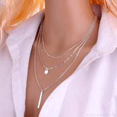 Gold Color 3 Layers Chain Triangle Long Pendant Necklaces - Custom Made | Free Shipping