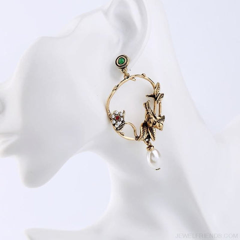 Image of Gold Color Birds Flowers Earrings - Custom Made | Free Shipping