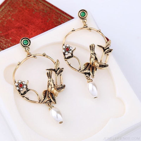 Gold Color Birds Flowers Earrings - Custom Made | Free Shipping