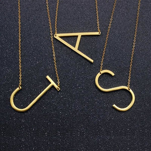 Gold Color Fun Letters Alphabet Pendant Necklace